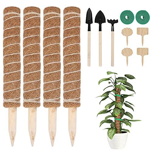 4 Stück 40cm Moosstab Pflanzstab Kokos, FINEW Rankhilfe Kokosstab mit 4 Pflanzschilder und Werkzeugen, Rankstab Monstera für Garten Kletterpflanzen Zimmerpflanzen