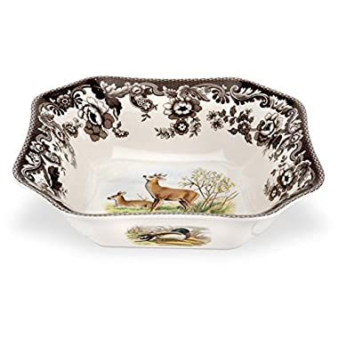 Spode Woodland American Wildlife Deer Square Salad Bowl