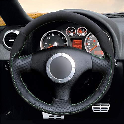 NFRADFM Cubierta de Volante de Gamuza Azul Negra, para Audi A2 8Z A3 8L Sportback A4 B6 Avant A6 C5 A8 D2 TT 8N S3 S4 RS 4 RS 6
