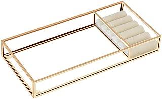 HANGOOD Jewelry Tray Vanity Tray Metal Decorative Tray Perfume Tray Makeup Organizer Tray for Bathroom (Gold)