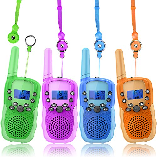Wishouse Wearable Walkie Talkies 4 Pack for Kids Boy Girl, Childrens Radio Long Range with Detachable Lanyard Flashlight,Outdoor Camping Games Halloween Cosplay Toy Xmas Birthday Gift