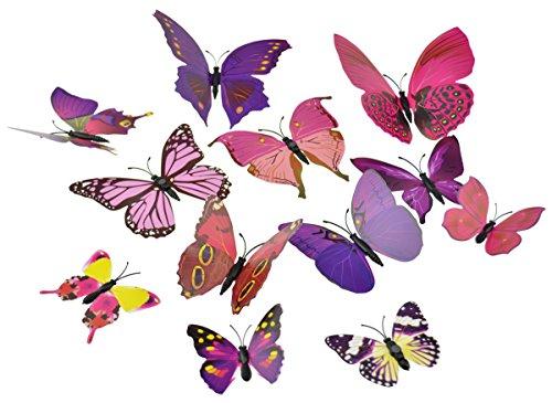 FiveSeasonStuff 24 Pcs 3D Butterfly Collection for Flower/Floral Arrangements/Garden Decoration (Mixed Butterflies with Metal Wire for Garden & Flower Arrangements)