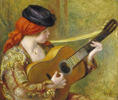 Pierre-Auguste Renoir - Junge Spanierin Mit Einer Gitarre Leinwandbilder Reproduktionen Gerollte 60X50 cm - Figur Aktivität Gemälde Gedruckt Wandkunst