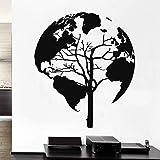 JXND Mundo Vector Silueta Pared calcomanía Vinilo Adhesivo geográfico decoración del hogar extraíble 57x65