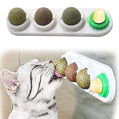 RBNANA Catnip Balls Toy for Cats, Catnip Edible Balls Natural Rotatable Licking Treats Toys for Cats Kitten Kitty
