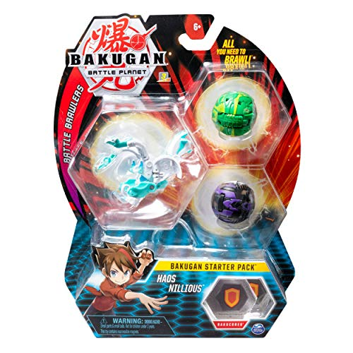 Bakugan Starter Pack 3-Pack, Haos Nillious, Collectible Action Figures, for Ages 6 and up (Styles May Vary)