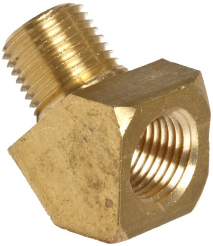 Anderson Metals-06124-02 Brass Pipe Fitting, 45 Degree Barstock Street Elbow, 1/8' Female Pipe x 1/8' Male Pipe