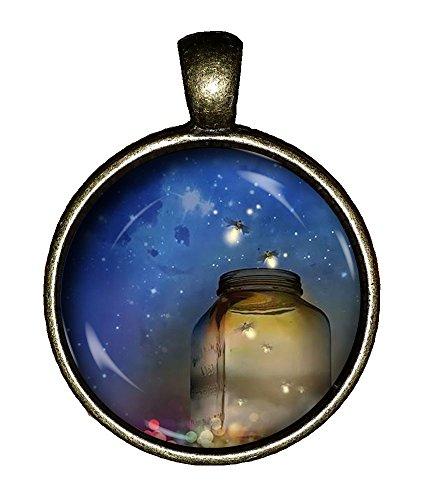 Chaoticfashion Fireflies in a jar Necklace Lightning Bugs Handmade Demon Jewelry Gift Pendant