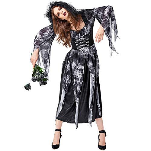AYUSHOP Vestido de Mujer Disfraz de Fiesta de Carnaval de Halloween Disfraz de Halloween Mancha Negra Cuervo Irregular Novia Gradiente Zombie Art Photo, para Disfraces Fiesta Club Carnaval Gras,M