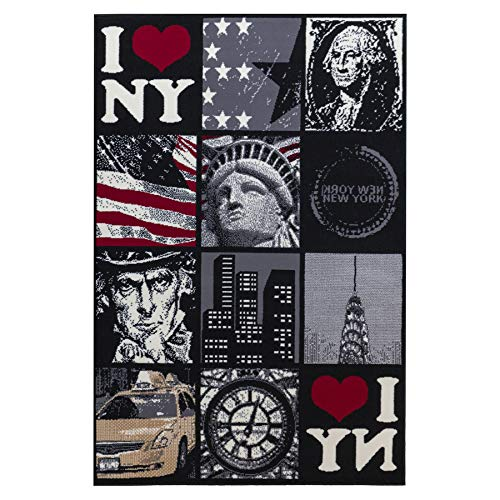 Debonsol - Tapis Salon Patchwork New York Noir 140x200cm