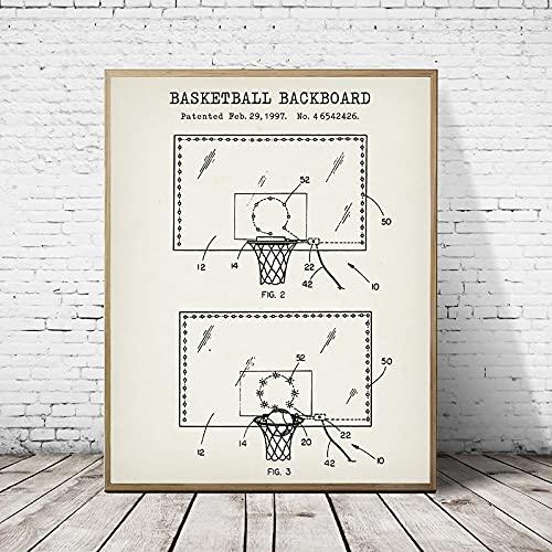 Tablero de baloncesto Plano de patente Carteles e impresiones vintage Pintura de lienzo de baloncesto Decoración de arte de pared para habitación de niños 45x60cm (18'x 24') Sin marco
