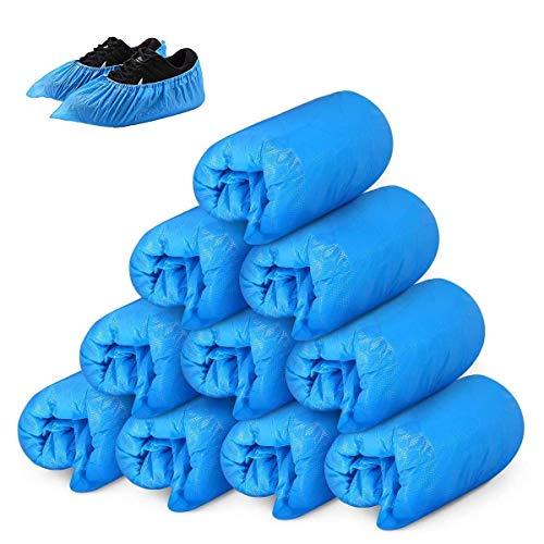 Voarge 50 Paar Schuhüberzieher Einweg - Überziehschuhe wasserdicht und extradick, Überschuhe aus hochwertigem CPE Material, für Boden, Teppich, Arbeitsplatz, Indoor Outdoor Schutz(Blau)
