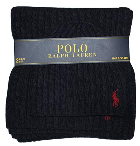 Polo Ralph Lauren Men's 2 Piece Set Hat & Scarf Navy Lambswool Blend