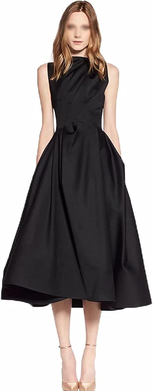 Ladies Dress - Women's A-Line Black Hepburn Style Round Neck Sleeveless Waistband Dress,Cocktail Black Prom Dresses