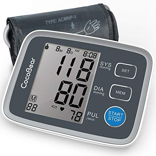 CocoBear Blood Pressure Monitor Upper Arm Digital Automatic BP Monitor for Home Use, 2 * 90 Memory Storage Adjustable Cuff Batteries Included Gray Blood Monitors Pressure