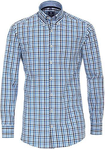Redmond - Camicia da uomo per il tempo libero, a quadretti, 100% cotone 10 Blu M