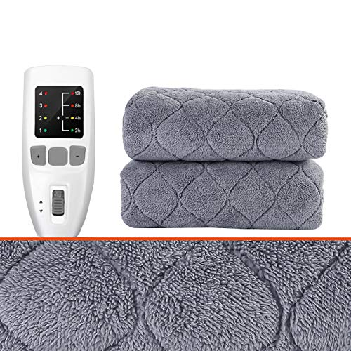 Electric Blankets & Mattress Toppers Electric Heated Blanket, Plush Electric Blanket Throw, With 4 Heating Setting And 12H Intelligent Downshift Auto-off, 2-12h Timing Setting, Gray,in 4 Sizes