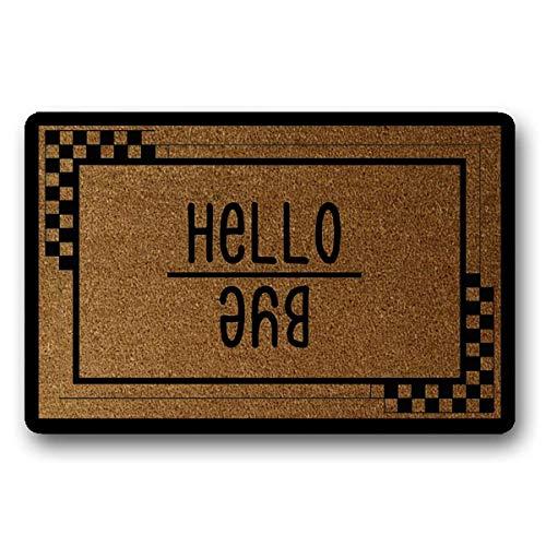 """Hello Bye Doormat Welcome Home Coir Doormat Funny Welcome Mat Interesting Welcome Mat, Farmhouse Doormat, Housewarming Gift 23.6"""" x 15.149"""" -  vmnbstitch, vmnbstitch-Doormat-200507A-143"""