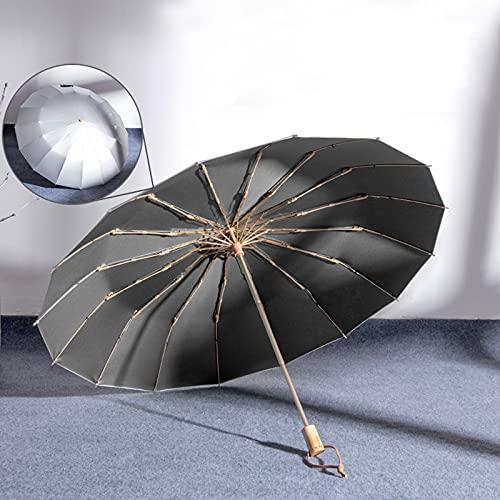 16 costillas plegables paraguas a prueba de viento a prueba de viento, grandes paraguas de lluvia con recubrimiento de teflón, asa ergonómica Paraguas Caja de cuero libre para mujeres ( Color : D )