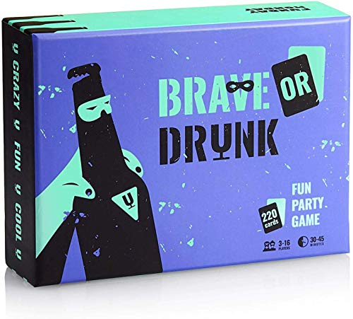 Brave or Drunk - Insane Drinking Games for Adults - Super-Fun Adult Party Drinking Card Game - Funny Party Shot Game with Unique Tasks & Rewards - Easy & Addictive Drink Game with 220 Laminated Cards