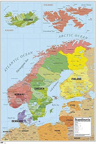 Close Up Póster Mapa de Escandinavia (61cm x 91,5cm)