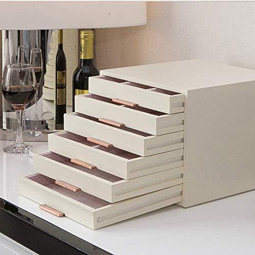 DXX-HR elemento de almacenamiento blanca de múltiples capas de madera de joyería Caja de almacenamiento de los pendientes del collar de la caja cosmética regalo muchacha de la mujer de gran capacidad