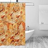 Duschvorhänge für Kuchen, Gebäck, Doodle für Badezimmer, Heimdekoration, waschbar, wasserdicht, Polyestergewebe, Badezimmer-Gardinen mit 12 Haken, 183 x 183 cm