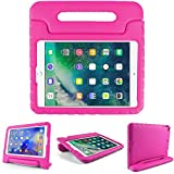 Kids Friendly Case for Amazon Kindle Fire HD 8 2018/2017/2016, Light-Weight EVA Soft Foam Durable Rugged Shockproof Kidsproof Foldable Convertible Handle Kickstand Cover for Teenages - Rosered