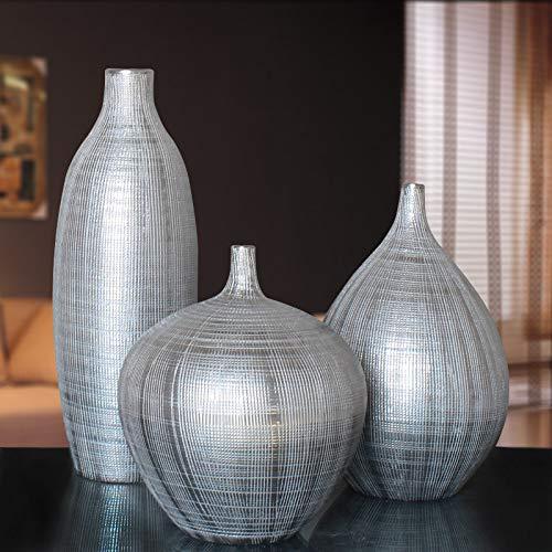 Baijdery Decorazione Scultura Vaso d'Argento Soggiorno Decorazione Decorazione della Casa Ornamenti Creativo Mobile TV Artigianale Set Vaso d'Argento Opaco