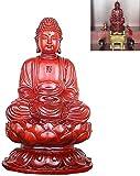 WQQLQX Statue Shakyamuni Statue Rot Sandelholz Schnitzen Sitzen Buddha Statue Ming und Qing Skulptur Handgemachte Mahagoni Figurine Figuren Dekoration Skulpturen (Size : 50cm)