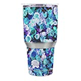 Skin Decal Vinyl Wrap for Ozark Trail 30 oz Tumbler Cup (6-piece kit) / Blue Roses Floral Pattern