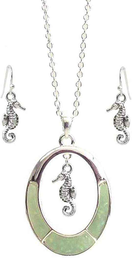 Fashion Jewelry ~ Seaglass Oval Ring Seahorse Pendant Necklace and Earrings Set for Women Teens Girlfriends Birthday Gift