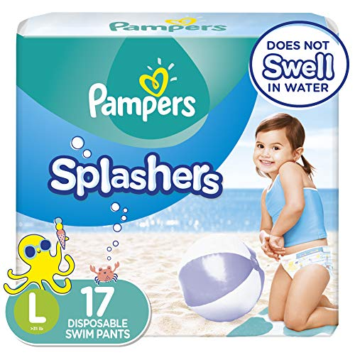 Swim Diapers Size 5 ( 31 lb), 17 Count - Pampers Splashers Disposable Swim...