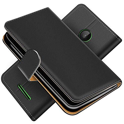 Conie Hülle für Microsoft Lumia 532 Tasche Bookstyle Schwarz, PU Leder Hülle Schwarz, Handyhülle Lumia 532 Flip Hülle Wallet, Booklet Cover Etui, für Microsoft Lumia 532 (4.0