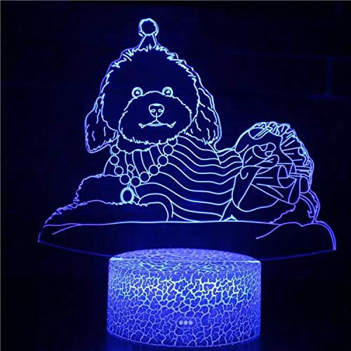 Cute Poodle Cracked Base Night Light Creative neon Light Multi-Color Night Light LED Light Acrylic 3D Visual Light