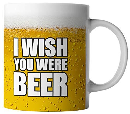 vanVerden Tasse I Wish You Were Beer Bierglas Krug Maß Bier Glas Fun Mug, Farbe:Weiß/Bunt