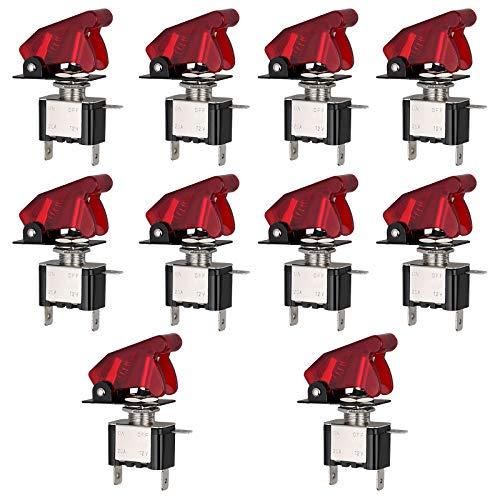 Justech 10PCs Juego de 12V 20A Interruptores de Palanca para Coche 3Pins SPST ON/Off Interruptores Profesionales de Coche con LED Luz Roja y Cubierta de Seguridad Impermeable Roja