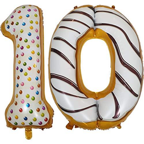 DIWULI, XL Zahlen-Ballons, Zahl 10, Sweet Donut Luftballons, süße Zahlenluftballons, Folien-Luftballons Nummer Nr Jahre, Folien-Ballons für 10. Geburtstag, Motto-Party, Dekoration, Geschenk-Deko