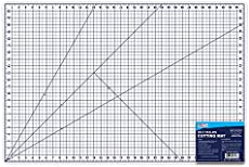"""U.S. Art Supply 24\\"""" x 36\\"""" WHITE/BLUE Professional Self Healing 5-6 Layer Double Sided Durable Non-Slip PVC Cutting Mat Great for Scrapbooking, Quilting, Sewing and all Arts & Crafts Projects"""