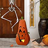 """Glitzhome 23.62"""" H Halloween Pumpkin Metal Jack O Lantern for Indoor Outdoor Home Festival Decorations with Lighted LED Candle Orange"""