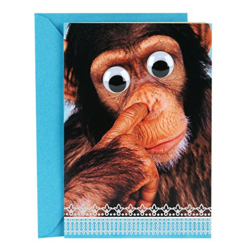 Hallmark Funny Father's Day Card (Nose-Picking Monkey with Googly Eyes)