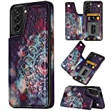 Coolden Designed for Samsung Galaxy S21 5G 6.2 inch Case Credit Card Holder Luxury PU Leather Stylish Mandala Kickstand Dual Layer Heavy Duty Protective Back Flip Wallet Cover Purple