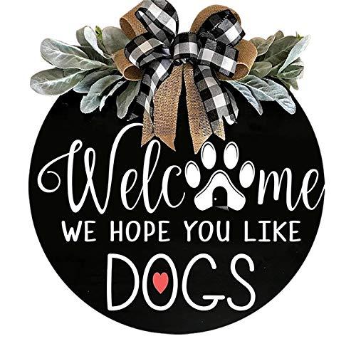 SOLE HOME Signo de Bienvenida para Puerta Frontal Rústico Colgante de Madera para Los Amantes de Los Perros Guirnalda de Primavera Y Verano para El Porche Delantero Decoración para