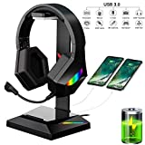 GLEENFIT RGB Gaming Headset Stand,7.1 Surround Sound Gaming Headset Holder with USB C and USB 3.0 Data Transmission&Chargers Ports, Desk Headphone Hanger for Gamer,Gaming Setup Accessories Desk