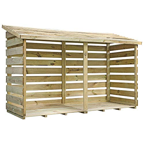 WALTONS EST. 1878 Wooden Double Log Store 6x3 Outdoor Timber Garden Storage (6ft x 3ft / 6ftx3ft)