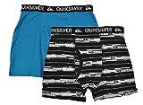 Quiksilver Little Boys 2 Pack Cyan Blue & Black Solid & Printed Boxer Briefs (6/7)