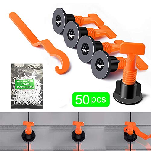 Like Building Walls /& Floors Tiles Leveling System Kits Reusable 50pcs Tiles Leveler Spacers 200PCS 2mm Tile Spacer with Special Wrench Reusable Tile Installation Tool Kit for Construction