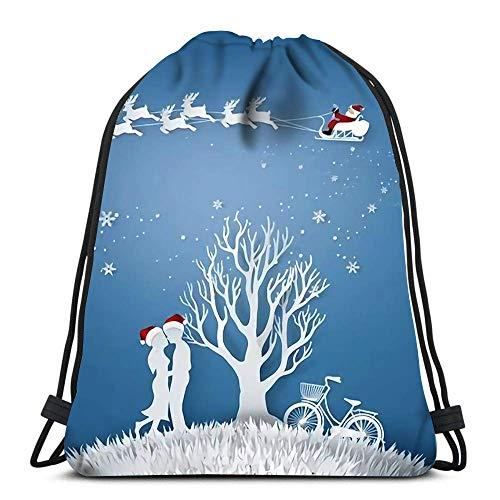 Mochilas con cordón Las Amantes del Amor se abrazan en una Pradera con un árbol sin Permiso y una Bolsa de poliéster de Almacenamiento Deportivo de Santa Claus para el Gimnasio