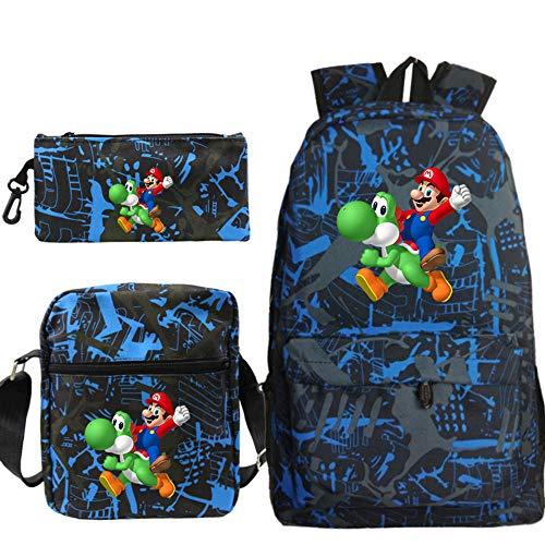 Mochilas Escolares para niños, Mochilas de impresión Super Mario Bros, Bolsos de Hombro Casuales para niños, Bolsa Diaria de 3 Piezas/Juego