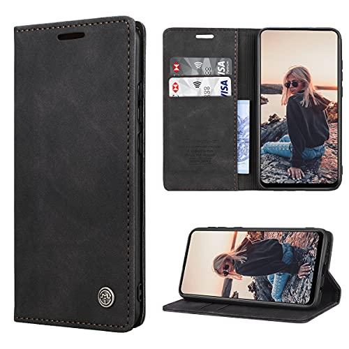 RuiPower Handyhülle für Samsung Galaxy A21s Hülle Premium Leder PU Flip Hülle Magnetisch Klapphülle Wallet Lederhülle Silikon Bumper Schutzhülle für Samsung Galaxy A21s Tasche - Schwarz